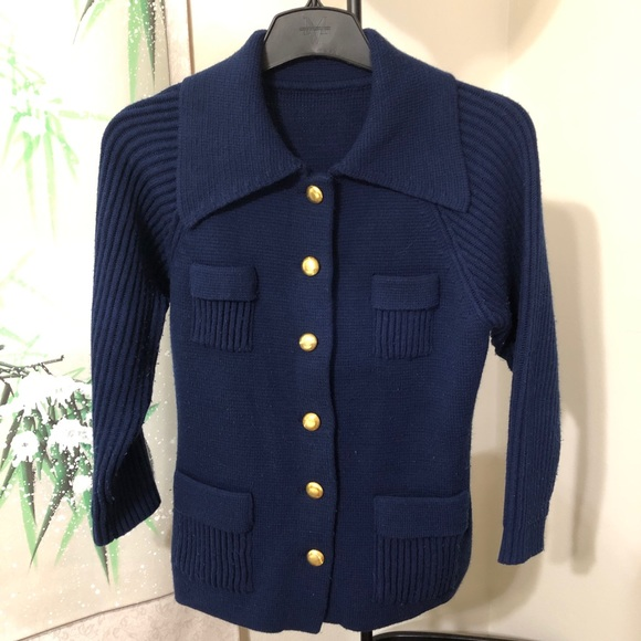 Vintage Navy Sweater Coat with Gold Buttons